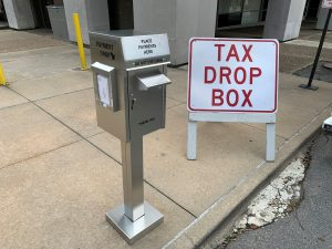 Drop box located on 2nd St. next to Administration Building