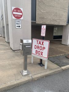 Tax Drop Box located on 2nd street next to the Administration building.