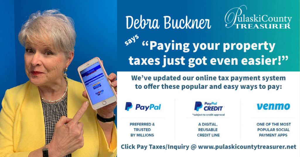 """Debra Buckner says """"Paying your taxes just got easier"""" We've updated our online tax payment system to offer PayPal, PayPal Credit, and Venmo."""""""